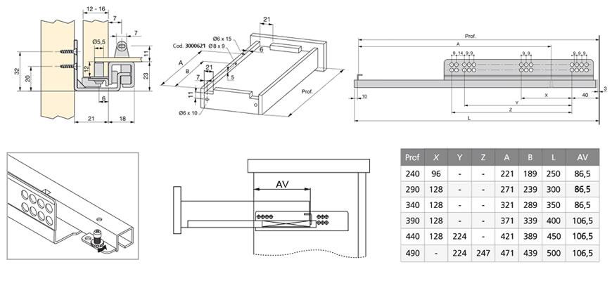 Croquis de instalación Guía de extracción parcial con push