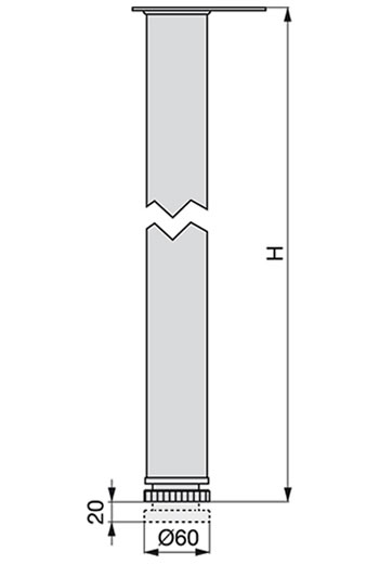 Pata para mesa redonda D60 de Emuca